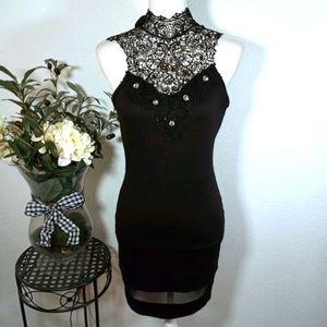 PAPAYA BLACK DRESS WITH LACE JULED NECK LINE SZ. M